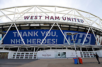 9th May 2020, London Stadium, London, England; The London Stadium, home of West Ham United, deserted during the lockdown for the Covid-19 virus; Giant screen displaying Thank you NHS Heros