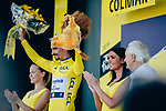 Race leader Julian Alaphilippe (FRA) Deceuninck-Quick Step retains the Yellow Jersey at the end of Stage 5 of the 2019 Tour de France running 175.5km from Saint-Die-des-Vosges to Colmar, France. 10th July 2019.<br /> Picture: ASO/Thomas Maheux | Cyclefile<br /> All photos usage must carry mandatory copyright credit (© Cyclefile | ASO/Thomas Maheux)