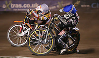 Heat 10: Richard Lawson (blue) and Mads Korneliussen (white) - Lakeside Hammers vs Leicester Lions, Elite League Speedway at the Arena Essex Raceway, Pufleet - 04/04/14 - MANDATORY CREDIT: Rob Newell/TGSPHOTO - Self billing applies where appropriate - 0845 094 6026 - contact@tgsphoto.co.uk - NO UNPAID USE