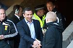 St Johnstone v Celtic.....12.04.11.Derek McInnes greets Neil Lennon.Picture by Graeme Hart..Copyright Perthshire Picture Agency.Tel: 01738 623350  Mobile: 07990 594431
