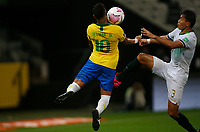 9th October 2020; Arena Corinthians, Sao Paulo, Sao Paulo, Brazil; FIFA World Cup Football Qatar 2022 qualifiers; Brazil versus Bolivia; Neymar of Brazil gets a high boot from Jesús Sagredo of Bolivia