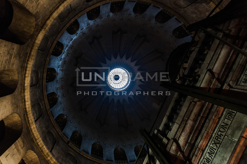 The Dome of the Rotunda of the Church and the Aedicule which contains the Holy Sepulchre itself. Jerusalem