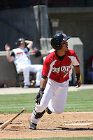 Jose Castro #2 of the Carolina Mudcats at bat during a game against the Chattanooga Lookouts on on May 9, 2010 in Zebulon, NC.