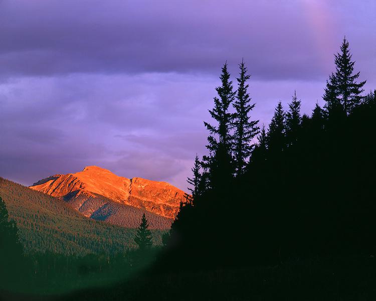 Sunset light on Truchas Peak in the Sangre de Cristo Range; Carson National Forest, NM