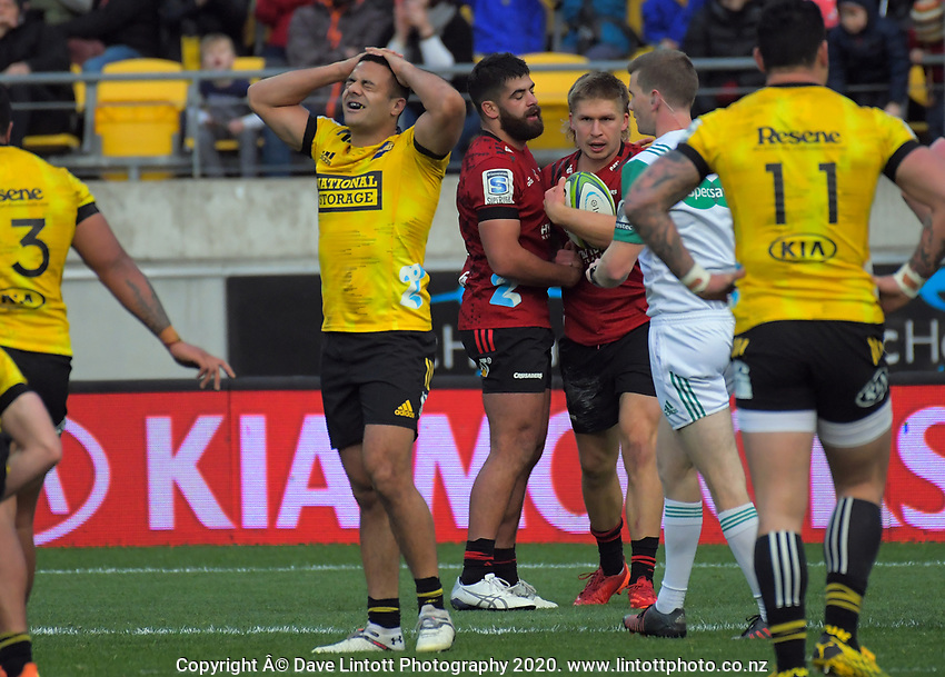 Chase Tiatia reacts to Jack Goodhue's try during the Super Rugby Aotearoa match between the Hurricanes and Crusaders at Sky Stadium in Wellington, New Zealand on Saturday, 21 June 2020. Photo: Dave Lintott / lintottphoto.co.nz