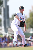 Sean Newcomb (31) of the Inland Empire 66ers pitches during a game against the Lake Elsinore Storm at San Manuel Stadium on May 27, 2015 in San Bernardino, California. Lake Elsinore defeated Inland Empire, 12-9. (Larry Goren/Four Seam Images)