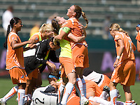 Sky Blue FC's player-coach Christie Rampone, right, and Heather O'Reilley, left, celebrate after a 1-0 victory over the LA Sol to win the WPS Championship match at the Home Depot Center, Saturday, August 22, 2009.