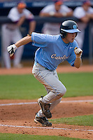 Mike Cavasinni #11 of the North Carolina Tar Heels hustles down the first base line versus the Clemson Tigers at Durham Bulls Athletic Park May 23, 2009 in Durham, North Carolina. The Tigers defeated the Tar Heals 4-3 in 11 innings.  (Photo by Brian Westerholt / Four Seam Images)