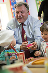© Joel Goodman - 07973 332324 . 14/06/2016 . Burnley , UK . Ed Balls making cakes with children whilst campaigning for Remain , in the EU referendum , at Giant Leap Child Care and Learning House in Burnley . Photo credit : Joel Goodman