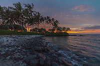 Beautiful sunset at Pauoa Bay on the Big Island of Hawai'i.