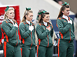 The Miami Hurricane cheerleaders listen to the National Anthem before the 2010 Hyundai Sun Bowl football game between the Notre Dame Fighting Irish and the Miami Hurricanes at the Sun Bowl Stadium in El Paso, Tx. Notre Dame defeats Miami 33 to 17...