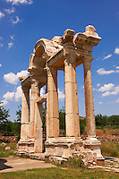 "Picture of the double Tetrapylon Gate, Aphrodisias, Turkey. A tetrapylon (Greek: Τετράπυλον, ""four gates"") is an ancient type of Roman monument of cubic shape, with a gate on each of the four sides: generally it was built on a crossroads. stock photos & photo art prints. 6"