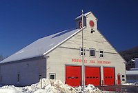 AJ4673, fire station, winter, Vermont, The Northfield fire station has three red doors in Northfield in Washington County in the state of Vermont.