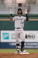 AZL White Sox right fielder Luis Mieses (22) celebrates after hitting a double during an Arizona League game against the AZL Indians 1 at Goodyear Ballpark on June 20, 2018 in Goodyear, Arizona. AZL Indians 1 defeated AZL White Sox 8-7. (Zachary Lucy/Four Seam Images)