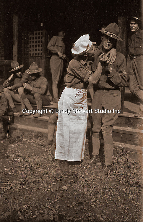 Petersburg VA:  80th Division cook fooling around outside mess hall,  80th Division encampment.