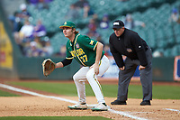 Baylor Bears first baseman Chase Wehsener (37) on defense during the game against the LSU Tigers in game five of the 2020 Shriners Hospitals for Children College Classic at Minute Maid Park on February 28, 2020 in Houston, Texas. The Bears defeated the Tigers 6-4. (Brian Westerholt/Four Seam Images)