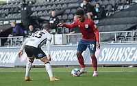 Huddersfield Town's Josh Koroma looks to take on Swansea City's Connor Roberts<br /> <br /> Photographer Ian Cook/CameraSport<br /> <br /> The EFL Sky Bet Championship - Swansea City v Huddersfield Town - Saturday 17th October 2020 - Liberty Stadium - Swansea<br /> <br /> World Copyright © 2020 CameraSport. All rights reserved. 43 Linden Ave. Countesthorpe. Leicester. England. LE8 5PG - Tel: +44 (0) 116 277 4147 - admin@camerasport.com - www.camerasport.com