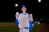 AZL Royals Bobby Witt, Jr. (17) holds the ball from his first professional base hit after an Arizona League game against the AZL Cubs 1 on June 30, 2019 at Sloan Park in Mesa, Arizona. AZL Royals defeated the AZL Cubs 1 9-5. (Zachary Lucy / Four Seam Images)