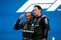 26th September 2021; Sochi, Russia; F1 Grand Prix of Russia, Race Day:  44 Lewis Hamilton GBR, Mercedes-AMG Petronas F1 Team on the podium as winner of the grand prix