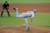 Starting pitcher Nick Martinez (22) of the Myrtle Beach Pelicans in a game against the Potomac Nationals on Monday, June 24, 2013, at G. Richard Pfitzner Stadium in Woodbridge, Virginia. Martinez is the Texas Rangers' No. 27 prospect, according to Baseball America. Myrtle Beach won, 3-2. The umpire is Brian Miller. (Tom Priddy/Four Seam Images)