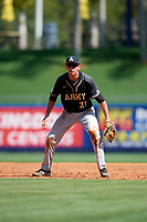 Army West Point first baseman John McKenna (21) during a game against the Michigan Wolverines on February 18, 2018 at First Data Field in St. Lucie, Florida.  Michigan defeated Army 7-3.  (Mike Janes/Four Seam Images)