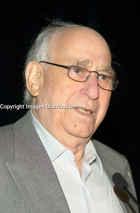 October2nd, 2000 File Photo of<br /> The founder of SAM THE RECORDMAN music chain ; Sam Sniderman,adressing the Canadian Retail Council, in Toronto.<br /> <br /> The 50 year old Canadian  chain filed today(october 30th, 2001) for protection from it's creditors and is expecting bankrupcymainly  because of competition from chains suchs as HMV and also because of MP3.<br /> <br /> Photo by Pierre Roussel / I Photo