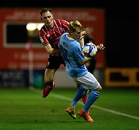 Lincoln City's Theo Archibald vies for possession with Manchester City U21's Sammy Robinson<br /> <br /> Photographer Chris Vaughan/CameraSport<br /> <br /> EFL Papa John's Trophy - Northern Section - Group E - Lincoln City v Manchester City U21 - Tuesday 17th November 2020 - LNER Stadium - Lincoln<br />  <br /> World Copyright © 2020 CameraSport. All rights reserved. 43 Linden Ave. Countesthorpe. Leicester. England. LE8 5PG - Tel: +44 (0) 116 277 4147 - admin@camerasport.com - www.camerasport.com