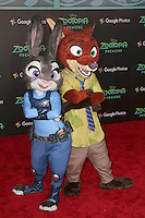 LOS ANGELES - FEB 17:  Judy Hopps, Nick Wilde, Zootopia characters at the Zootopia Premiere at the El Capitan Theater on February 17, 2016 in Los Angeles, CA