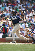 Mike Cameron of the San Diego Padres vs. the Chicago Cubs: June 18th, 2007 at Wrigley Field in Chicago, IL.  Photo By Mike Janes/Four Seam Images