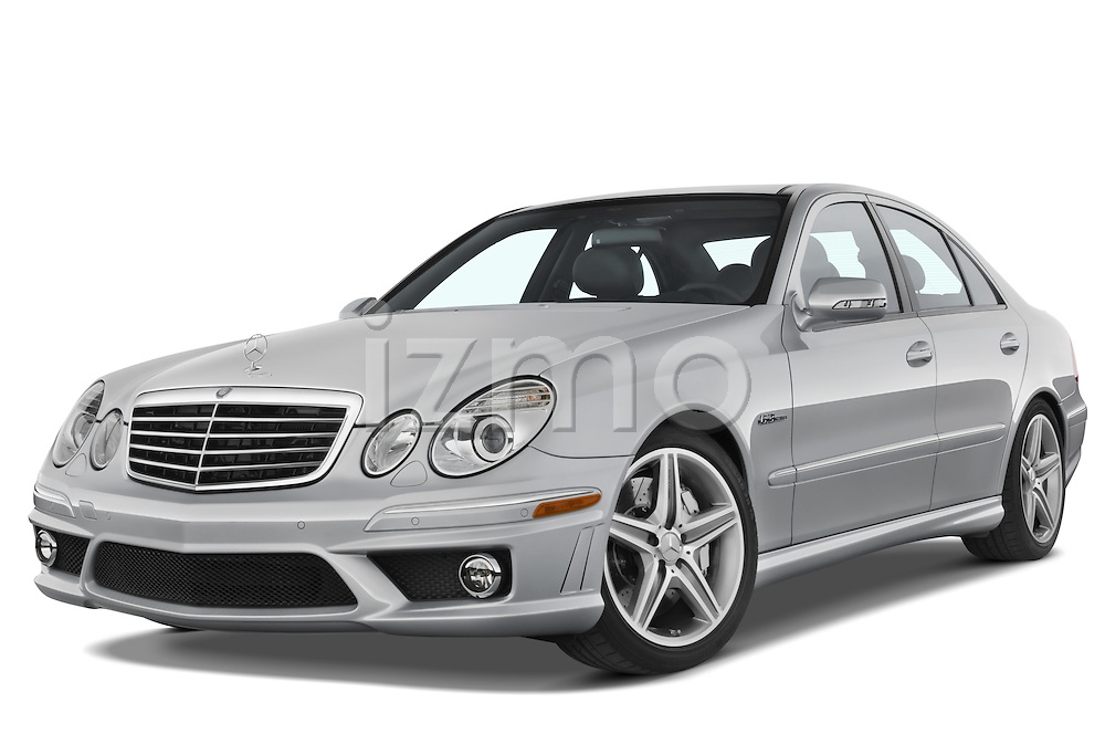 Low aggressive front three quarter view of a 2008 Mercedes E63 Sedan.