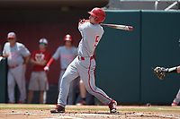 Patrick Bailey (5) of the North Carolina State Wolfpack follows through on his swing against the Northeastern Huskies at Doak Field at Dail Park on June 2, 2018 in Raleigh, North Carolina. The Wolfpack defeated the Huskies 9-2. (Brian Westerholt/Four Seam Images)