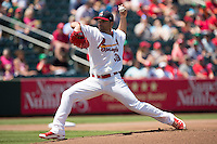 Jaime Garcia (39) of the St. Louis Cardinals delivers a pitch during a rehab game with the Springfield Cardinals against the Tulsa Drillers at Hammons Field on May 4, 2014 in Springfield, Missouri. (David Welker/Four Seam Images)
