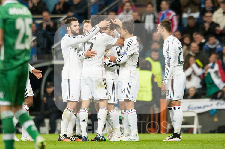Chicharrito and Arbeloa of Real Madrid during Champions League match between Real Madrid and Ludogorets at Santiago Bernabeu Stadium in Madrid, Spain. December 09, 2014. (ALTERPHOTOS/Luis Fernandez)