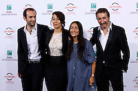 "Da sinistra, l'attore Khalid Abdalla, la regista Tala Hadid, la cantante Hindi Zahra e l'attore Hocine Choutri posano durante un photocall per la presentazione del film ""Itar el-layl"" al Festival Internazionale del Film di Roma, 17 ottobre 2014.<br /> From left, actor Khalid Abdalla, director Tala Hadid, singer Hindi Zahra and actor Hocine Choutri pose for a photocall to present the movie ""Itar el-layl"" (""The narrow frame of midnight"") during the international Rome Film Festival at Rome's Auditorium, 17 October 2014.<br /> UPDATE IMAGES PRESS/Riccardo De Luca"