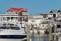 Cape May Harbor marina and houses, NJ, New Jersey, USA