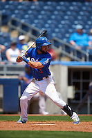 Tulsa Drillers shortstop Luis Mateo (3) at bat during a game against the Midland RockHounds on June 3, 2015 at Oneok Field in Tulsa, Oklahoma.  Midland defeated Tulsa 5-3.  (Mike Janes/Four Seam Images)