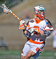 23 August 2008: Los Angeles Riptide Midfielder Greg Downing in action against the Denver Outlaws during the Semi-Finals of the Major League Lacrosse Championship Weekend at Harvard Stadium in Boston, MA. The Outlaws edged out the Riptide 13-12, advancing to the upcoming Championship Game.. .Mandatory Photo Credit: Ed Wolfstein Photo
