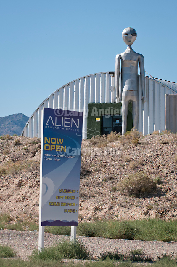 Giant roadside alien at the entrance to a metal, Quonset-style building at the Alien Research Center near Hiko, Nev.