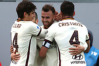 Borja Mayoral of AS Roma (c) celebrates with team mates after scoring a goal during the Serie A football match between FC Crotone and AS Roma at stadio Ezio Scida in Crotone (Italy), January 6th, 2020. Photo Gino Mancini / Insidefoto