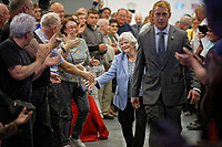 Pictured: Anne Widdecombe greets party supporters as she wlks to the stage. Tuesday 30 April 2019<br /> Re: Nigel Farage and Anne Widdecombe at the Brexit Party rally at The Neon in Clarence Place in Newport, south Wales, UK.