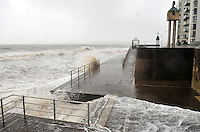 swansea..news.wednesday 5th february 2014...<br /> <br /> Swansea bay during high tide, near Swansea's Observatory tower on the promenade.