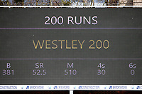 The scoreboards shows that Tom Westley of Essex has reached a double hundred, 200 runs during Essex CCC vs Worcestershire CCC, LV Insurance County Championship Group 1 Cricket at The Cloudfm County Ground on 9th April 2021