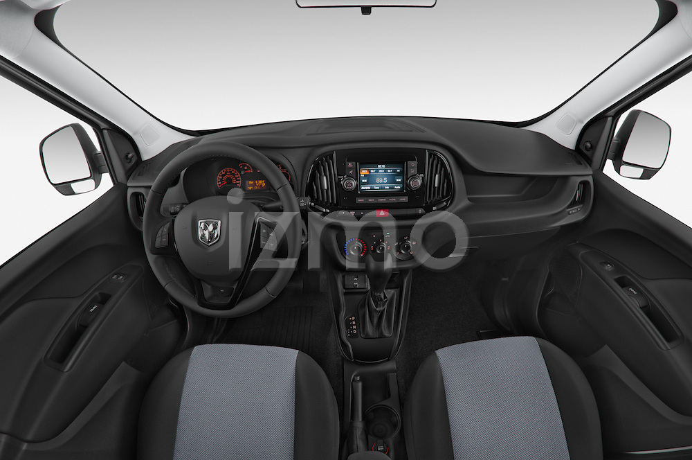 Stock photo of straight dashboard view of a 2017 Ram Promaster City Trademans 4 Door Cargo Van