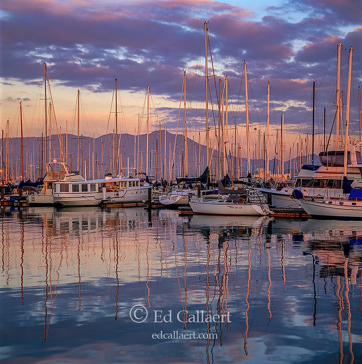 Dawn, Sausalito Harbor, Mount Tamalpais, Marin County, California