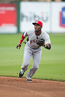 Hickory Crawdads second baseman Travis Demeritte (25) on defense against the Kannapolis Intimidators at CMC-Northeast Stadium on April 17, 2015 in Kannapolis, North Carolina.  The Crawdads defeated the Intimidators 9-5 in game one of a double-header.  (Brian Westerholt/Four Seam Images)
