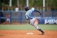 Tampa Bay Rays Kea'von Edwards (54) runs the bases during a Florida Instructional League game against the Baltimore Orioles on October 1, 2018 at the Charlotte Sports Park in Port Charlotte, Florida.  (Mike Janes/Four Seam Images)
