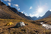 Camping with a view in to the arrigetch creek valley, Xanadu (left) Arial and Caliban mountains, Brooks Range, Gates of the Arctic National Park, Alaska.