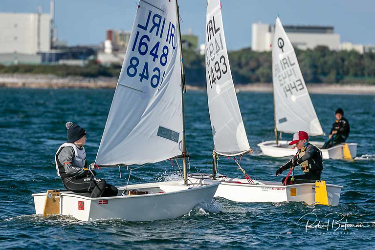 The Optimist Munster Championship fleet raced from the Paddy's Point slipway