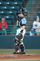 Hickory Crawdads catcher Matt Whatley (19) on defense against the Charleston RiverDogs at L.P. Frans Stadium on August 10, 2019 in Hickory, North Carolina. The RiverDogs defeated the Crawdads 10-9. (Brian Westerholt/Four Seam Images)