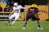 TEMPE, AZ - November 13, 2010: Nate Whitaker during a football game at Arizona State University in Tempe, Arizona. Stanford won 17-13.